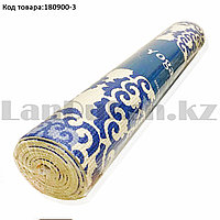 Коврик для йоги и фитнеса (йогамат) 4 мм 61х173 см с восточным узором белый с голубым узором