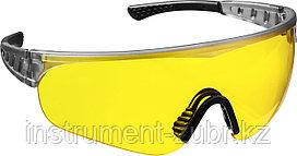 Желтые, очки защитные открытого типа STAYER HERCULES, мягкие двухкомпонентные дужки.