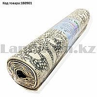 Коврик для йоги и фитнеса (йогамат) двухсторонний 5 мм 61х173 см белый с рисунком природы