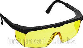 Желтые, очки защитные открытого типа STAYER OPTIMA, регулируемые по длине дужки.