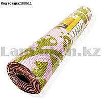 Коврик для йоги и фитнеса (йогамат) двухсторонний 5 мм 61х173 см розовый с рисунком листьев