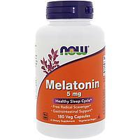 Now Foods, Мелатонин, 5 мг, 180 растительных капсул