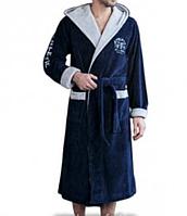 Мужской халат махровый, воротник кимоно, капюшон, с запахом