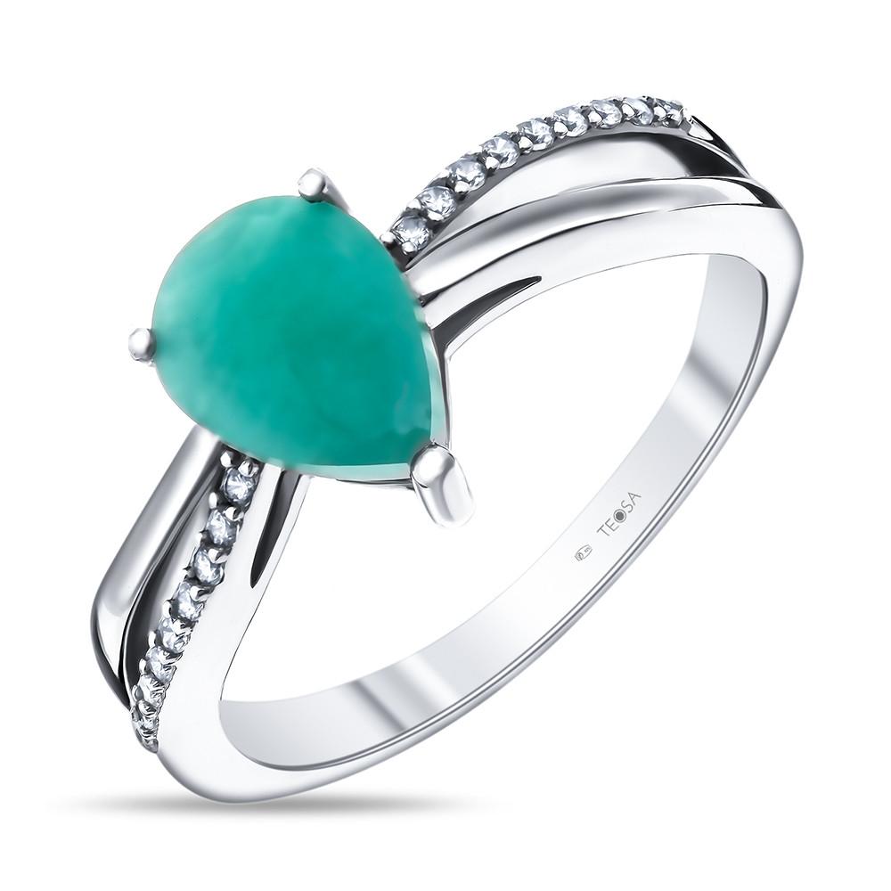Кольцо из серебра с натуральным изумрудом и фианитом