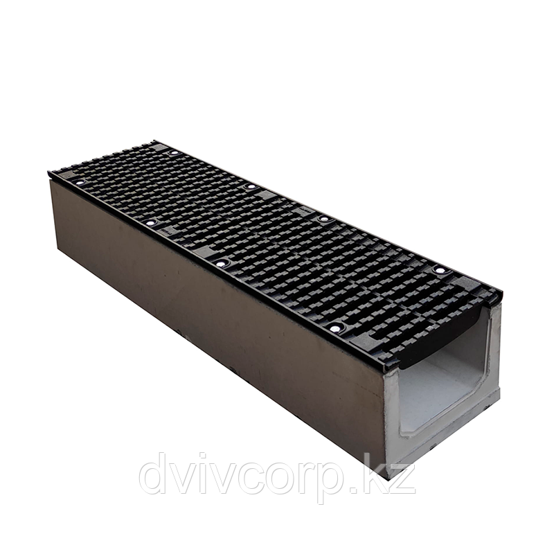 Лоток водоотводный бетонный с решеткой щелевой чугунный ВЧ кл.D в комплекте 1000х230х235 мм +77077944491