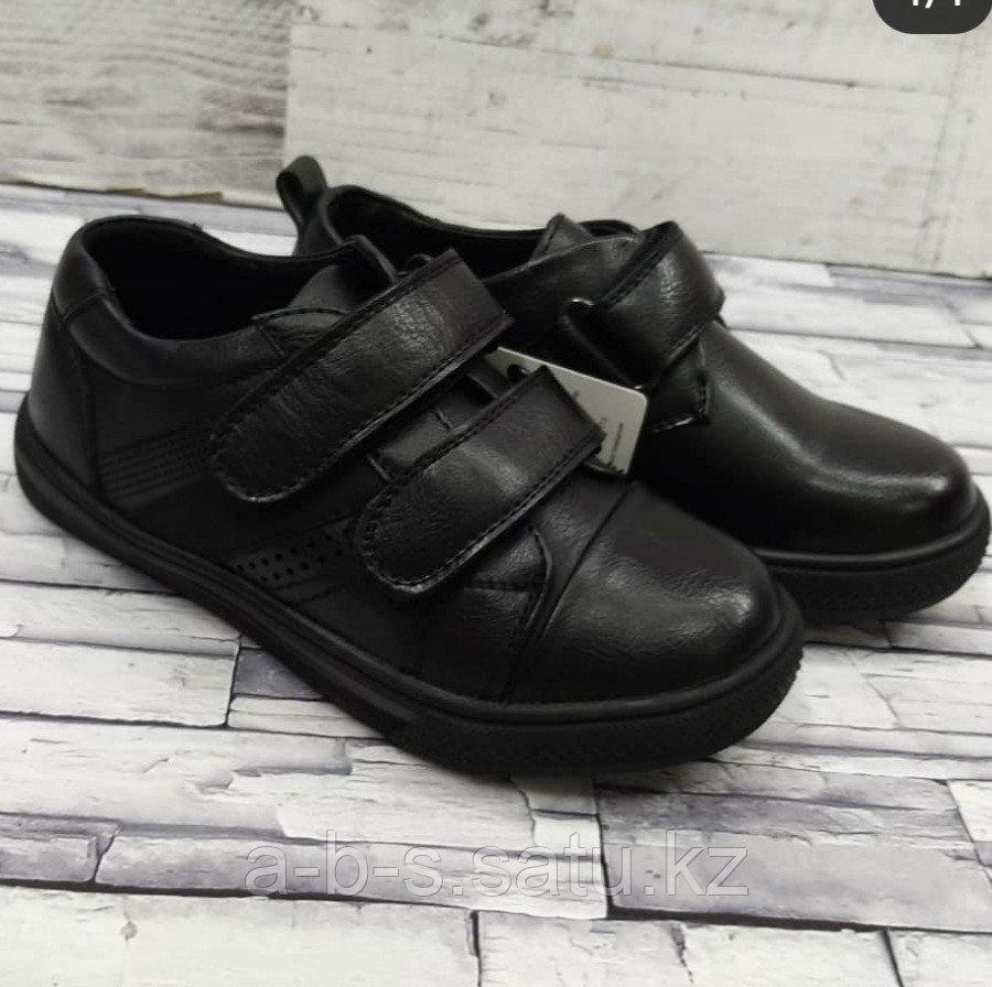 Туфли черные с двумя липучками