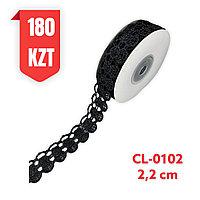 Кружево черное, шелковое 22 мм, CL-0102 black