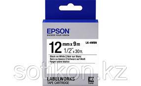 Лента Epson C53S654021 LK4WBN Стандартная лента 12мм, Бел./Черн., 9м