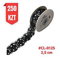 Кружево черное, шелковое 25 мм, CL-0125 black