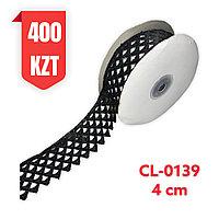 Кружево черное, шелковое 40 мм, CL-0139 black