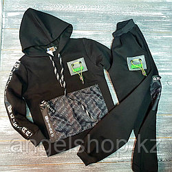 Спортивный костюм (черный с салатовыми вставками)