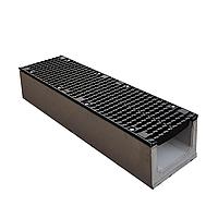 Лоток водоотводный бетонный с решеткой щелевой чугунный ВЧ кл.D в комплекте 1000х245х250 мм