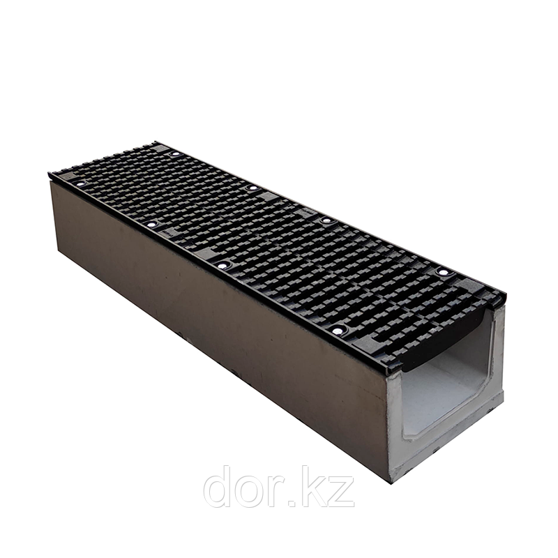 Лоток водоотводный бетонный с решеткой щелевой чугунный ВЧ кл.D в комплекте 1000х335х340 мм