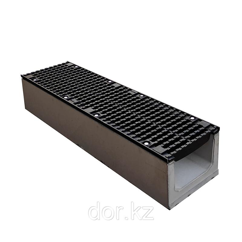 Лоток водоотводный бетонный с решеткой щелевой чугунный ВЧ кл.D в комплекте 1000х255х260 мм