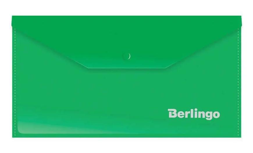 Папка-конверт на кнопке Berlingo, C6, 180 мкм, зеленая