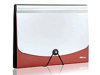 Папка-портфель DELI, на резинке 12 отделений, красный