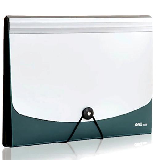 Папка-портфель DELI, на резинке 12 отделений, зеленый