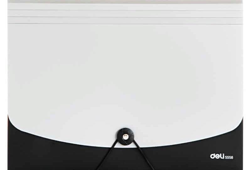 Папка-портфель DELI, на резинке 12 отделений, черный