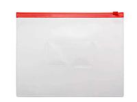 Папка-конверт на молнии БЮРОКРАТ, А5, 0,15 мм, красная