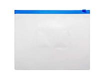 Папка-конверт на молнии БЮРОКРАТ, А5, 0,15 мм, синяя