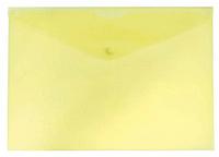 Папка-конверт на кнопке БЮРОКРАТ, А4, 0,15 мм, желтая