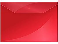 Папка-конверт на кнопке OfficeSpace, А4, 150 мкм, красная