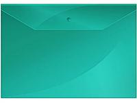 Папка-конверт на кнопке OfficeSpace, А4, 150 мкм, зеленая