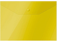 Папка-конверт на кнопке OfficeSpace, А4, 150 мкм, желтая