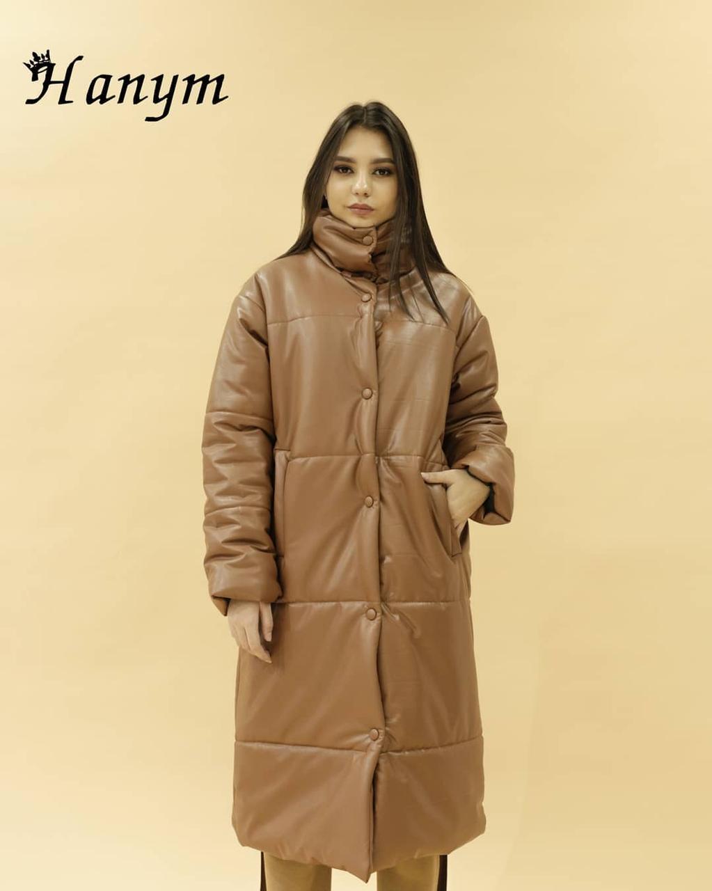 Женская куртка (эко кожа) brown