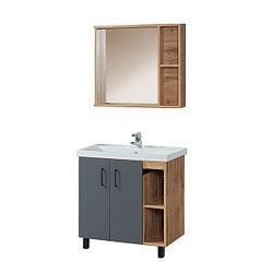 Тумба для ванной с раковиной и зеркалом «Акваль Лофт» 80 см. черный матовый (Умывальник Фостер 80)