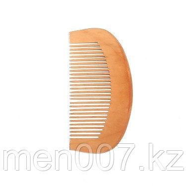 Расческа для бороды и волос округлая из персикового дерева