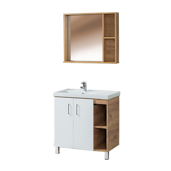 Тумба для ванной с раковиной и зеркалом «Акваль Лофт» 80 см. белая (Умывальник Фостер 80)
