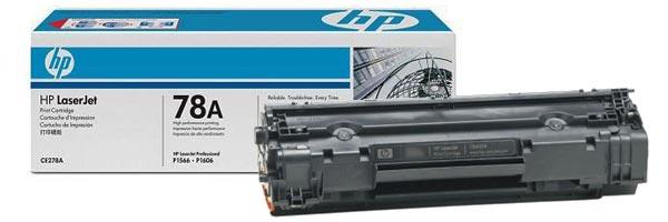 HP CE278A Black Print Cartridge for LaserJet 1566/1606/1536, up to 2100 pages.