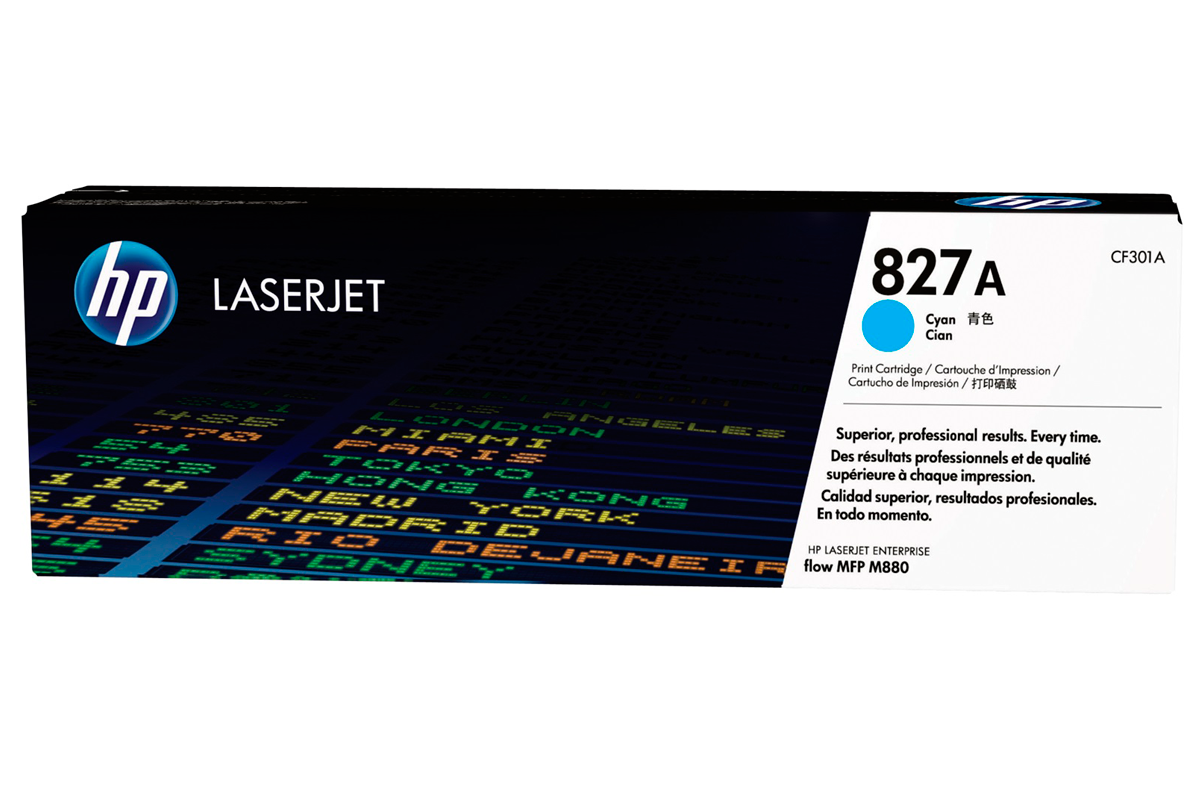 HP CF301A 827A Cyan Toner Cartridge for Color LaserJet M880z/M880z+, up to 32000 pages.