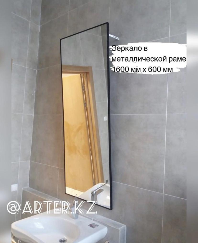 Зеркало в черной металлической раме, 5мм, 1600(В)х600(Ш)мм