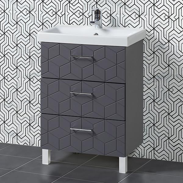Комплект Тумба с умывальником для ванной «Акваль Нова» 60 см. (Умывальник Moduo 60 Slim)