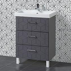 Комплект Тумба с умывальником для ванной «Акваль Нова» 60 см. серый (Умывальник Moduo 60 Slim)