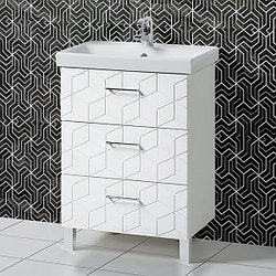 Комплект Тумба с умывальником для ванной «Акваль Нова» 60 см. (Умывальник Moduo 60 Slim) Белый