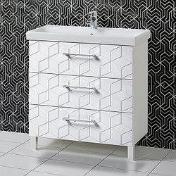 Комплект Тумба с умывальником для ванной «Акваль Нова» 80 см. (Умывальник Moduo 80 Slim) Белый