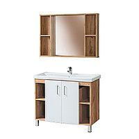 Комплект Тумба для ванной с умывальником и зеркалом «Акваль Лофт» 100 см. белая (Миранда 100)