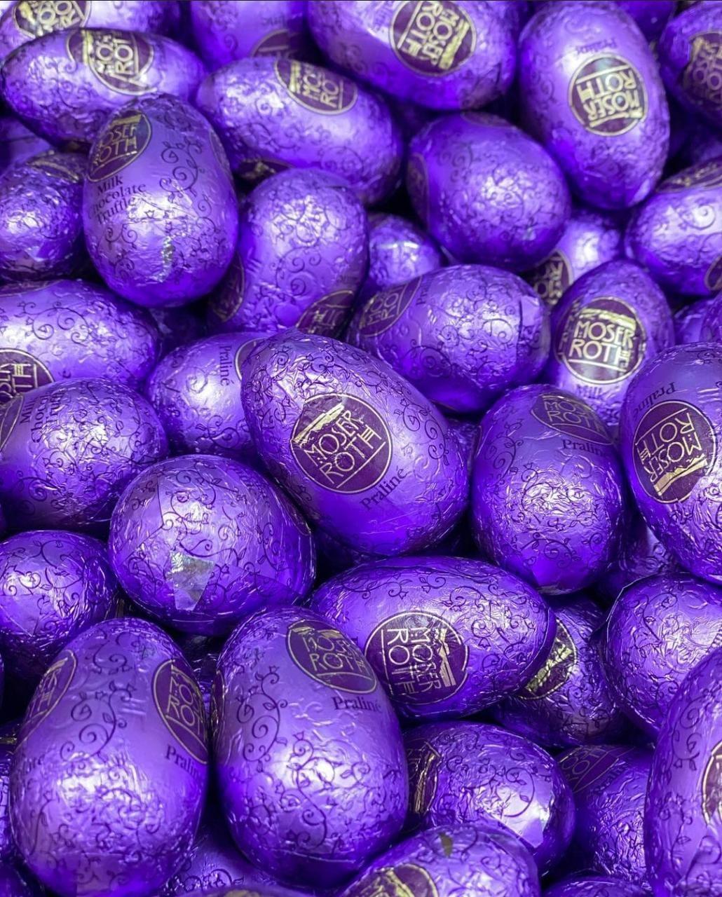 Яйцо шоколадное Мозер Рот Moser Roth с начинкой Praline ореховый крем (Фиолетовые) 1 кг