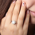"Кольцо TEOSA серебро с родием, жемчуг культ. фианит, ""halo"" PRLJR00803-W, фото 2"