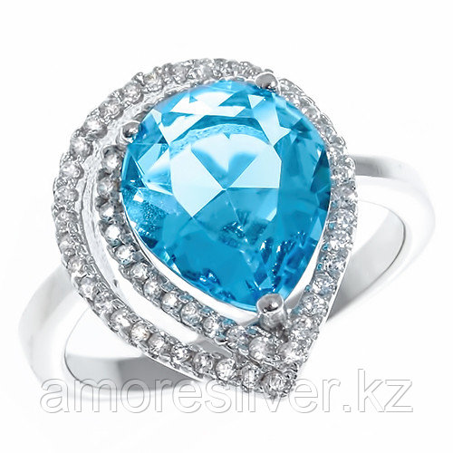 "Кольцо TEOSA серебро с родием, фианит, ""halo"" ZDR-12975-TSWC"