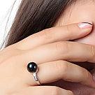 """Кольцо TEOSA серебро с родием, жемчуг черный культ. фианит, """"halo"""" PRLJR00758-B, фото 2"""
