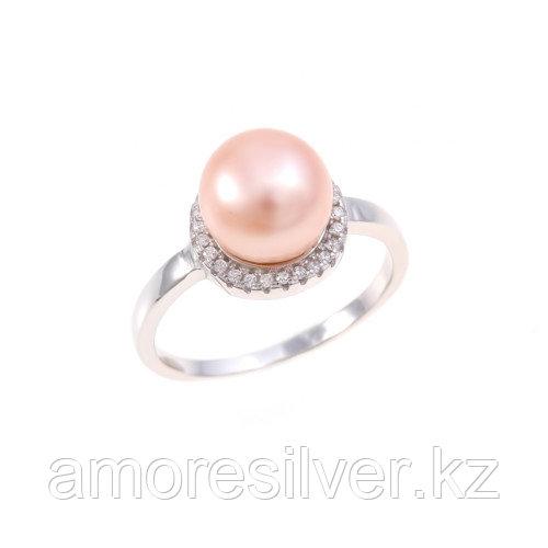 """Кольцо TEOSA серебро с родием, жемчуг розовый культ. фианит, """"halo"""" PRLJR00803-P"""