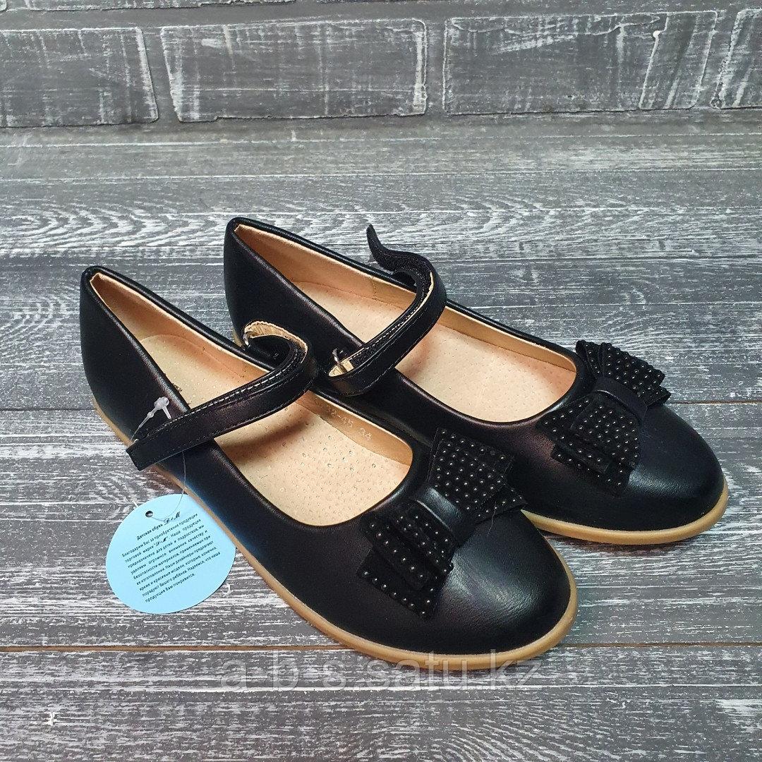 Туфли черные с бантиком и бусинками