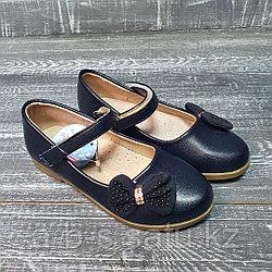 Туфли темно-синие с бантиком сбоку