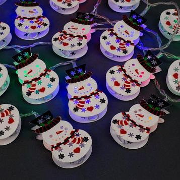 """Гирлянда """"Нить"""" 4 м с насадками """"Снеговик"""", IP20, прозрачная нить, 20 LED, свечение мульти, 8 режимов, 220 В"""