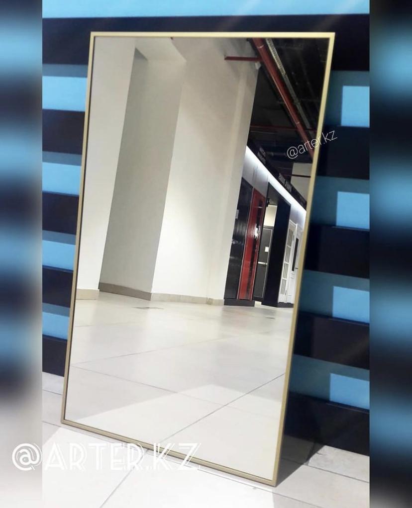 Зеркало в золотистой металлической раме, 5 мм, 900(В)х525(Ш)мм