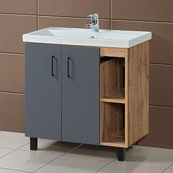 Комплект Тумба для ванной с раковиной «Акваль Лофт» 80 см. черный матовый (Умывальник Фостер 80)